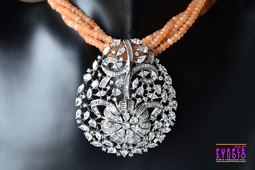 Sophisticated Silver AD Pendant Set in Orange Beaded Necklace