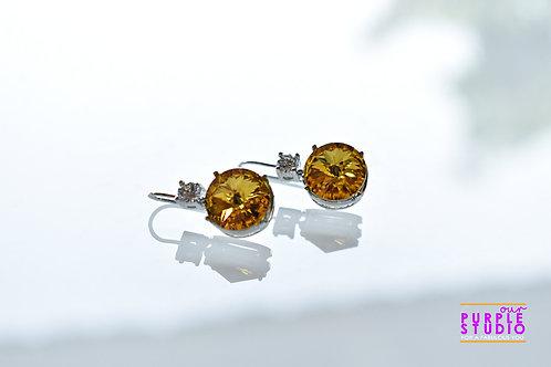 Light Wear Earring with Yellow Colour Semi Precious Stone Drop