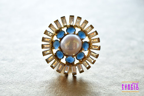 Flower Ring in Pearl and Blue CZ