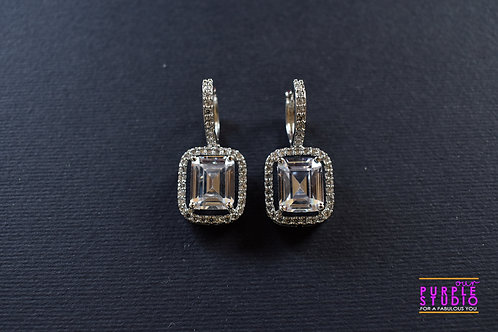 Square CZ Stud Earring with Hoop