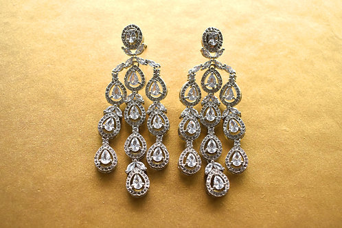 Party Wear Chandelier Earrings in Rich CZ