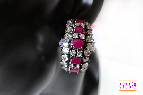 Gorgeous Victorian Hoops in Ruby and White CZ Stone