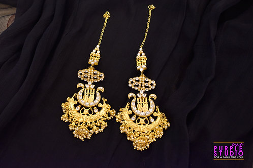 Royal Golden Danglers in Rich Kundan