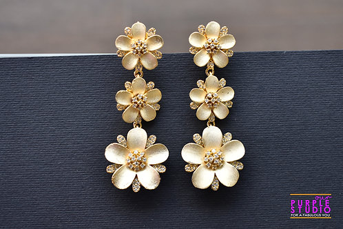 Sleek Golden Floral Danglers