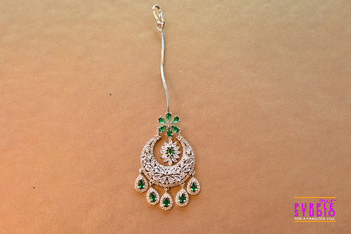 Cocktail White and Green AD Maang Tikka in Silver Finish