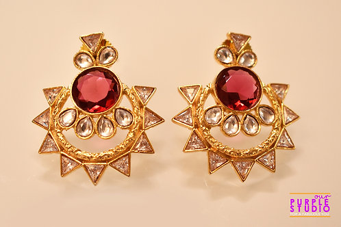 Beautiful Golden Kundan Danglers with a highlight Pink Color Stone