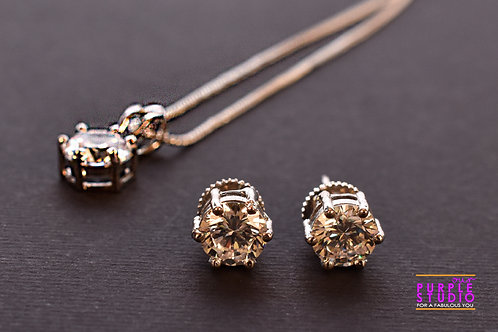 Rich Korean Stone Pendant Set in Silver Finish