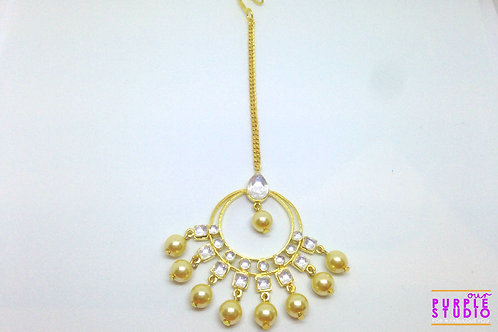 Full Moon Golden Kundan Pearl Maang Tikka