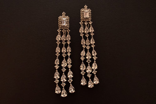 Party Wear Earrings in Rich Swarovski and CZ stones