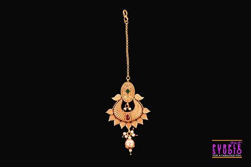 Beautiful Golden Maangtikka with a Pearl Drop