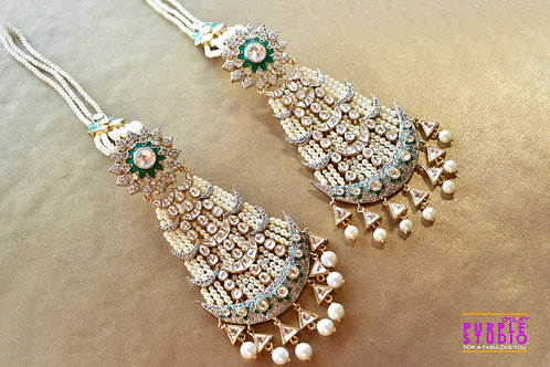 Statement Bridal Earring in Kundan and Pearl