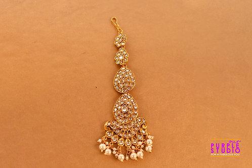 Beautiful Golden Maangtikka with Pearl Drops