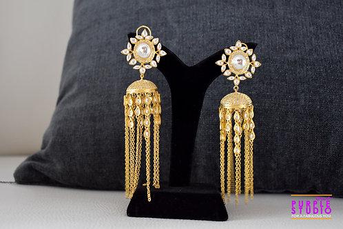 Stunning Kundan Jhumka with Golden Tassels