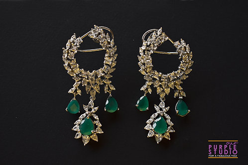 Fashion Delight Party Earring in White and Green CZ Stone