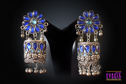 Silver Tone Blue Color  Jhumka