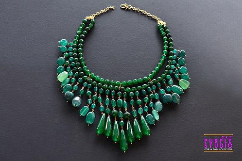 Multi Layered Gorgeous Necklace in semi precious Emerald colour bead
