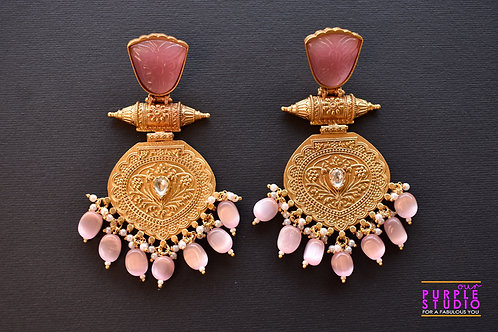 Statement  Golden Earrings in Pink Semi Precious Stone