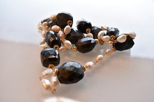 Contemporary Beaded Necklace Pearl and Black Semi Precious Stone
