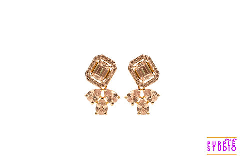 Square CZ Stud Earring with petals in GJ Polish