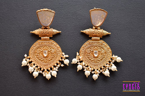 Statement  Golden Earrings in Transparent Semi Precious Stone