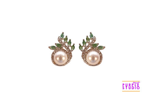 Pearl Stud with Green CZ Stones