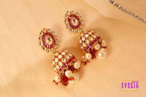Golden Kundan Jhumka with Pink Semi Precious Stone