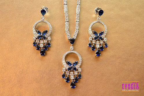 Sophisticated CZ Necklace Set with Blue Stones