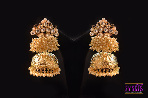 Golden Floral Kundan and Pearl Jhumka