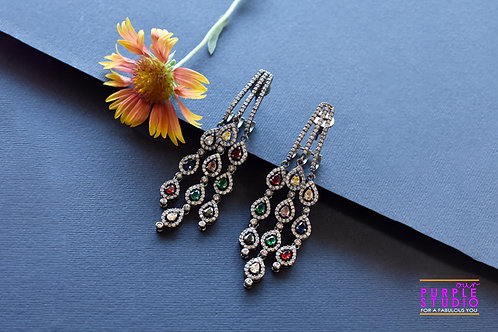 Gorgeous Multi Color AD Danglers in antique finish