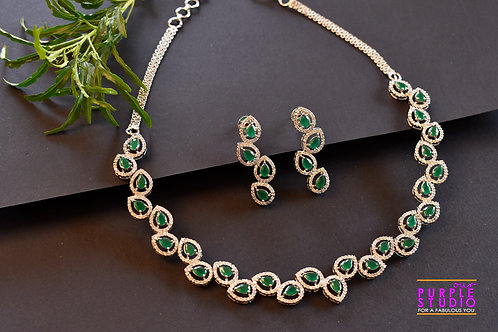Enchanting White  and Green CZ Setting Necklace Set