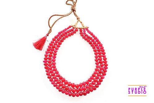 Contemporary Three Layered Red Quartz Beaded Necklace