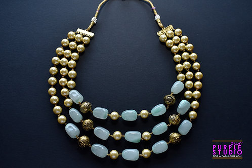Multi Layered Gorgeous Sea Green  Beads Necklace
