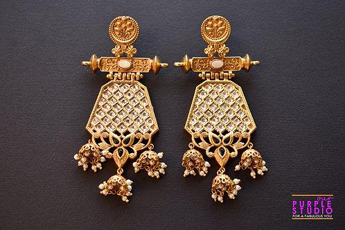 Statement Golden Bridal Earring in Rich Kundan Stones