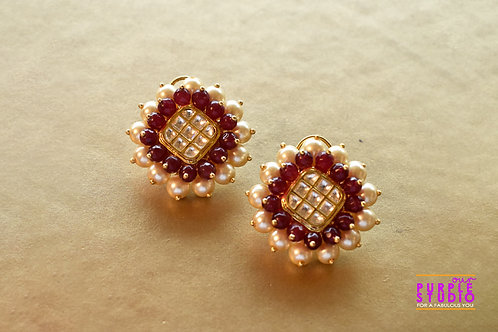 Graceful Square Kundan Stud with white and red pearl embellishment