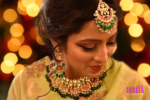 Graceful Ruby and Emerald Kundan Necklace Set