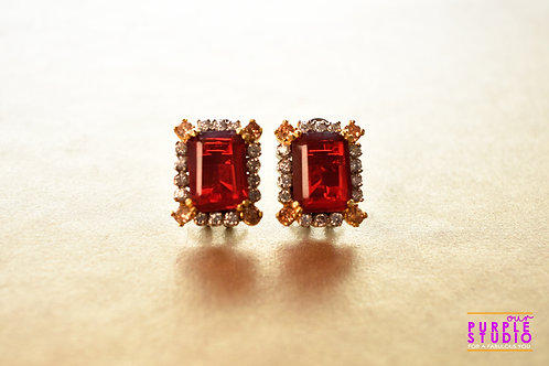 Smart Rectangle Shaped Ruby Stud With AD Stone Setting
