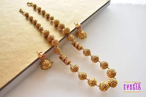 Elegant Golden Bead Necklace Set