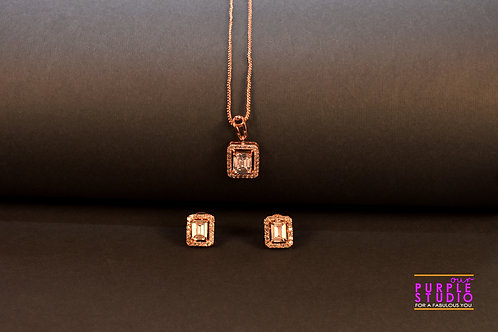 Rich AD Pendant Set in Rose Gold Finish