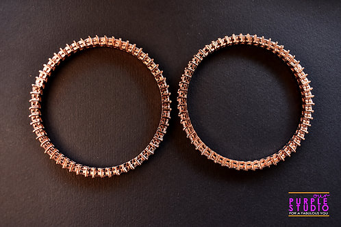 Sophisticated Pair of  AD Bangles in Rose Gold Finish