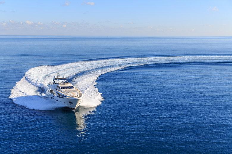 luxury yacht, aerial view italian shipya