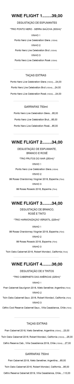 degustações de vinhos espumantes brancos roses tintos In House Café-Bistrô