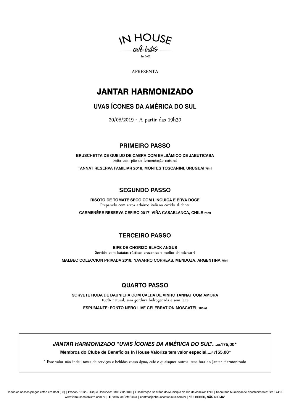 MENU JANTAR HARMONIZADO ICONES AMERICA D