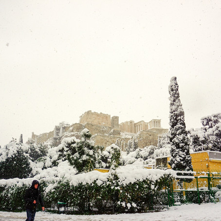Snowy Athens: Once every 5 years!