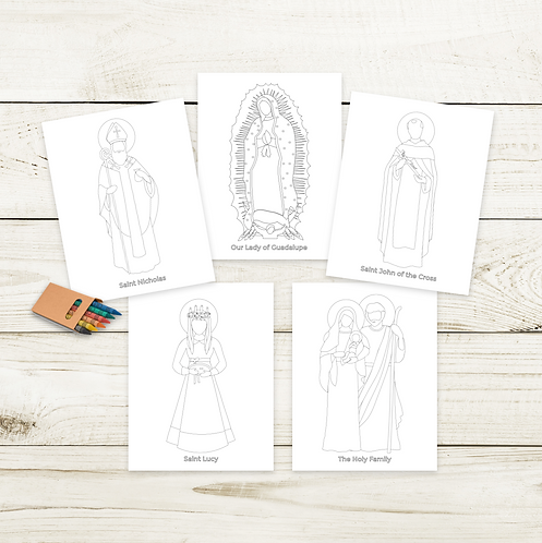 December Simple Saints Coloring Bundle