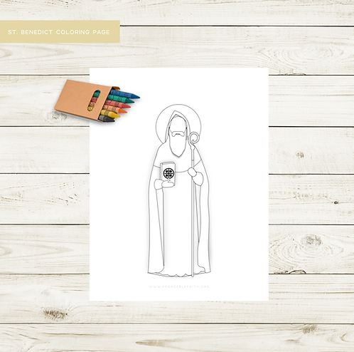 St. Benedict Simple Saint Coloring Page