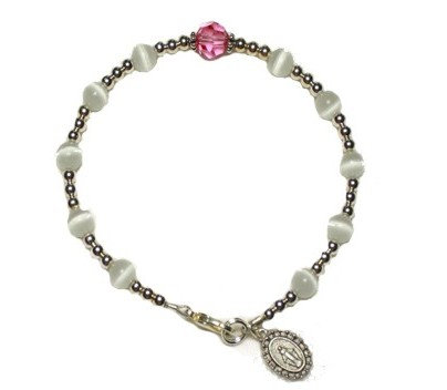 White Cat's Eye/ Pink Swarovksi Crystal Decade Bracelet
