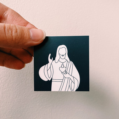 Sacred Heart of Jesus Color Block Square Sticker