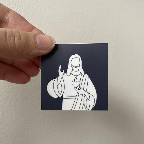 Sacred Heart of Jesus Color Block Square Sticker