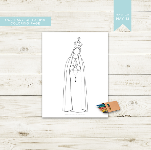 Our Lady of Fatima Simple Saint Coloring Page