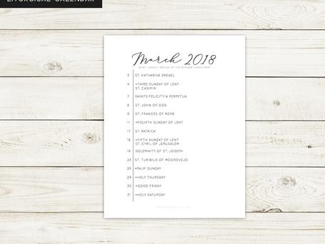 Free Liturgical Calendars | March 2018